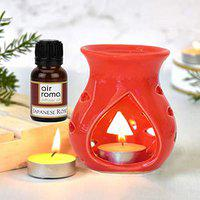 AirRoma Ceramic Aroma Diffuser Oil Burner(Red) with 10ml Japanese Rose Diffuser Oil & 2 Pcs Free Candles