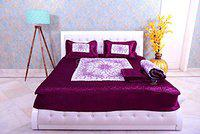 SD ENTERPRISES Satin Double Bed Bedding Set 1 Bedsheet 2 Pillow Cover 1 AC Comforter (King Size, Purple) - Pack of 4 Pieces