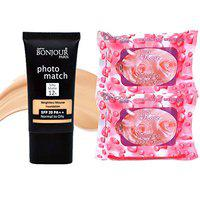 Bonjour Paris Photo Match Mousse Foundation ((Natural Fair) + Wet Facial Wipes (Rose Flavor)- Pack of 2 (40% Discount))