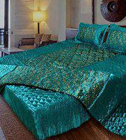 SD ENTERPRISES Satin Bedding Set Includes 1 Double Bed Bedsheet, 2 Pillow Cover, 1 Double Bed AC Comforter (Green) - Set of 4 pcs