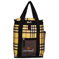 Good Friends Nylon Lunch Bag for School/Picnic (Yellow)