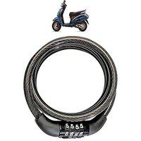 AdroitZ Heavy Material Cable Lock/Helmet Lock/Bike Lock/Number Lock with 2 Key for Honda Activa 3g_(Black)
