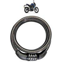 KANDID Heavy Material Cable Lock/Helmet Lock/Bike Lock/Number Lock with 2 Key for Yamaha MT 15_(Black)