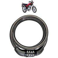 AdroitZ Heavy Material Cable Lock/Helmet Lock/Bike Lock/Number Lock with 2 Key for Yamaha RX100_(Black)