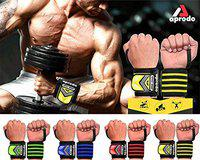 APRODO Wrist Wraps 22 Professional Grade with Thumb Loops - Wrist Support Braces for Men & Women - Weightlifting, Gym, Strength Training, Bodybuilding, Crossfit, One Size Fits All (Yellow Black)
