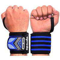 APRODO Wrist Wraps 22 Professional Grade with Thumb Loops - Wrist Support Braces for Men & Women - Weightlifting, Gym, Strength Training, Bodybuilding, Crossfit, One Size Fits All (Blue Black)
