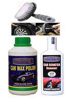 INDOPOWER HCYYY632- CAR Wax Polish 500gm+ Scratch Remover 200gm.+All Tyre Cleaning Brush