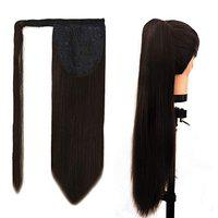 Paradise High Quality Straight Wrap Around Ponytail Hair Extensions For Women And Girls Dark Brown