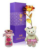 Saugat Traders Gift for Girlfriend Wife Special - Artificial Golden Rose, Small Soft Toy & Love Message Bottle