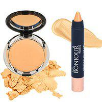 Bonjour Paris Photo Match Translucent Compact (Natural Fair) + Crayon Concealer- Combo Pack of 2 (40% Discount)