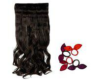 Glan Hair Extensions For Girls And Women (Curly Black) With 5 pcs Curly Hair Clips And Hair Bun Maker (Pack Of 1) (M-4)