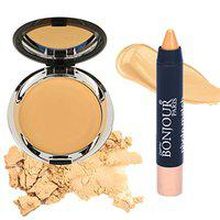 Bonjour Paris Photo Match Translucent Compact (Medium Beige) + Crayon Concealer- Combo Pack of 2 (40% Discount)