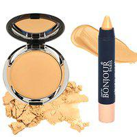 Bonjour Paris Photo Match Translucent Compact (Wheatish To Dusky Skin) + Crayon Concealer- Combo Pack of 2 (40% Discount)
