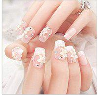 VIKSON INTERNATIONAL 24 Pcs/Set of 3D floral Nude Beige Rhinestone Crystal Gorgeous full cover fake Nail Long fake Artificial Nail