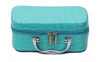 JAMUNESH Makeup Box for Women | Cosmetic Storage Boxes | Jewellery Organizer | Toiletry Bag with Compact Magnifying Mirror for Travel - Blue