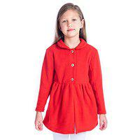 Cherry Crumble California Red Coat for Girls Full Sleeves (Red, 2-3 Years)