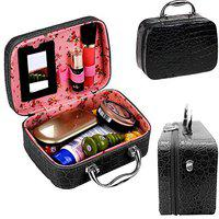 JAMUNESH Latest Stylish Makeup Box for Women | Cosmetic Storage Boxes | Jewellery Organizer | Toiletry Bag with Compact Magnifying Mirror for Travel (Black)