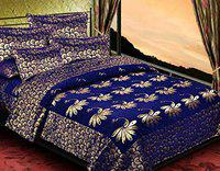 Mohit Home Furnishing Velvet Floral Design Double Bed Bedsheet 1 Double Bedsheet with 2 Pillow Cover Set 510 TC Blue Colour