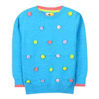 Cherry Crumble California Self Design Round Neck Casual Girls Blue Sweater