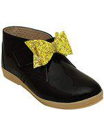 D'chica Bow Applique Cute Boots for Girls Black (DCFB5847-P)