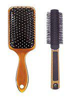 Foreign Holics Combo of Flat and Round Hair Brush for Regular Cushion for Men and Women (M1)