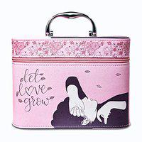 JIMPLEI PINK Let Love Grow Printed Stylish Makeup Box for Women | Cosmetic Storage Boxes | Jewellery Organizer | Toiletry Bag with Compact Magnifying Mirror for Travel - Pastel pink