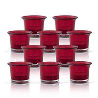 Homesake Tealight Holder, Glass Candle Holder Stand with Free Candle, Candle Holder for Home Decoration Diwali, 3inch, Set of 10, Red, Cups