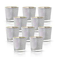 Homesake Glass Candle Holder Stand with Candle, Pack of 10