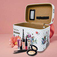 JIMPLEI white Paris Printed Stylish Makeup Box for Women | Cosmetic Storage Boxes | Jewellery Organizer | Toiletry Bag with Compact Magnifying Mirror for Travel -White