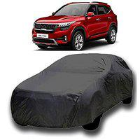 Varshine CAR Cover for Kia Seltos Model || Export Quality Fabric || Water Resistant and UV Protection || Triple Stitched || Dark Grey Color || with Carry Bag || with Out Mirror Pocket || V8 || 45t
