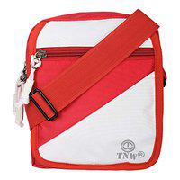 TnW Men's/Women Casual Canvas Travel Sling Bag (Red-Whit)