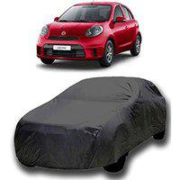 Starvin CAR Cover for Nisaan Micra Model || Export Quality Fabric || Water Resistant and UV Protection || Triple Stitched || Dark Grey Color || with Carry Bag || with Out Mirror Pocket || V3XL || 98