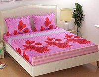 Laying Style Elastic Fitted Cotton Bedsheets (King Size, Multicolour)