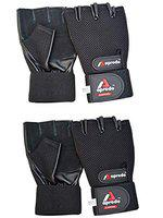APRODO Cardio Fitness Gym Gloves, (Pack of 2 Pair) Leather Palm Long Wrist Support, (Large)