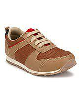 Tuskey Kid's Genuine Leather Comfortable Breathable Antiskid Jogger Running Shoes for Boys Beige