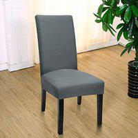 Styleys Elastic Chair Cover Stretch Removable Washable Short Dining Chair Cover Protector Seat Slipcover (1 Chair Cover, D16 Grey)