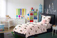 Dreamline Cuties & Beauties Pink Animal Printed Single Bedsheet with 1 Pillow Cover Set (DSN-03)