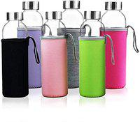 SkyKey Glass Water Bottles 500 ML Bottles for Beverage and Juicer Use Stainless Steel Caps - Including Colorful Nylon Protection Sleeve,Pack of 1