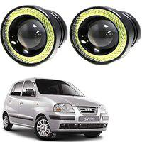 RWT High Power LED Fog Light Projector Cob With White Angel Eye Ring 15W (Pack Of 2) For Hyundai Santro Xing