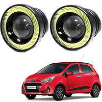 RWT High Power LED Fog Light Projector Cob With White Angel Eye Ring 15W (Pack Of 2) For Hyundai Grand i10