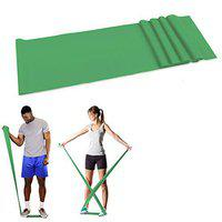 FITSY 5 Feet Green Latex Elastic Resistance Band for Workouts Pilates Stretching Yoga Band for Men Women Normal Fitness Level