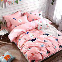 HomeStore-YEP Heavy Glace Cotton Double Bedsheet with Two Pillow Cover Size 90*100 inches for Kids Room,Fish Pink Color