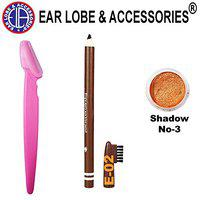 Ear lobe & Accessories Eyebrow Razor 1pcs + Eyebrow Pencil Brown 1pcs and Eye Shadow Copper No-3 Small