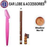 Ear lobe & Accessories Eyebrow Razor 1pcs + Eyebrow Pencil Brown 1pcs and Eye Shadow Copper No-10 Small