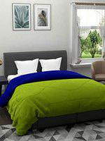 The Home Story 110 GSM All Weather Reversible Double Bed Dohar/Ac Blanket/Quilt; Green & Blue