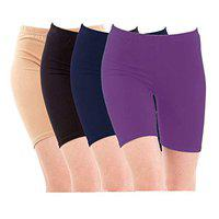 Pixie Biowashed Cycling Shorts for Girls/Women/Ladies Combo (Pack of 4) Beige, Black, NavyBlue, Purple - Free Size