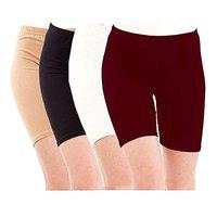 Pixie Biowashed Cycling Shorts for Girls/Women/Ladies Combo (Pack of 4) Beige, Black, White, Maroon - Free Size