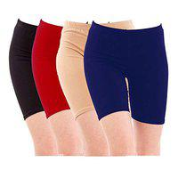 Pixie Biowashed Cycling Shorts for Girls/Women/Ladies Combo (Pack of 4) Black, Red, Beige, Blue - Free Size