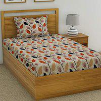 Fashion String 120 TC Microfibre Orange Single Bedsheet with 1 Pillow Cover