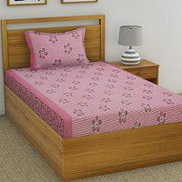 Fashion String 120 TC Microfibre Pink Single Bedsheet with 1 Pillow Cover